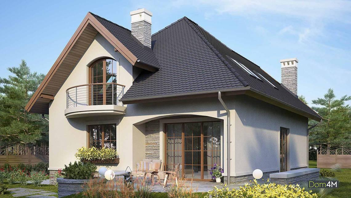 Красивый двухэтажный дом с полукруглыми верандами и балконами