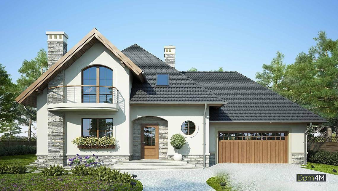 Двухэтажный дом в средиземноморском стиле с гаражом на два авто