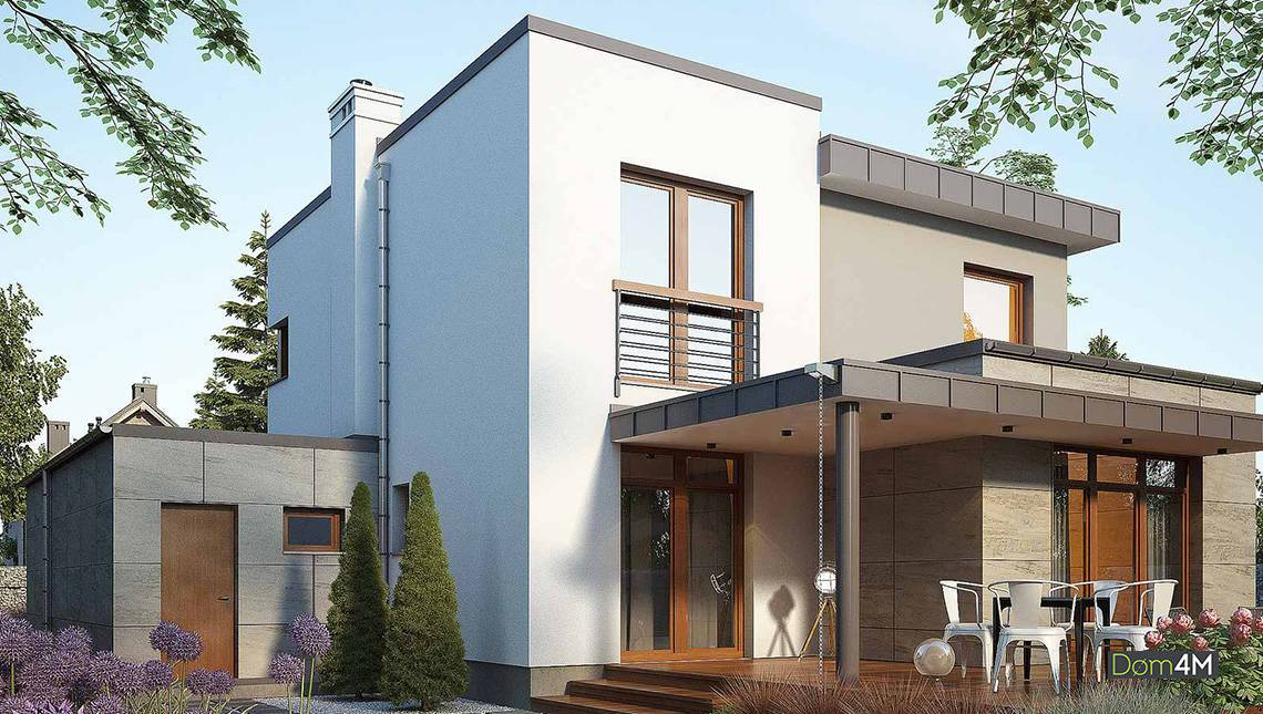 Жилой двухэтажный дом оригинальной планировки
