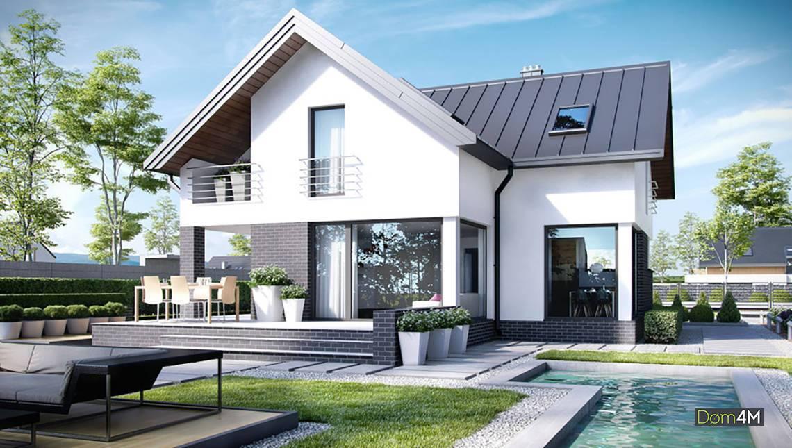 Изящный дом с открытыми террасами и балконами