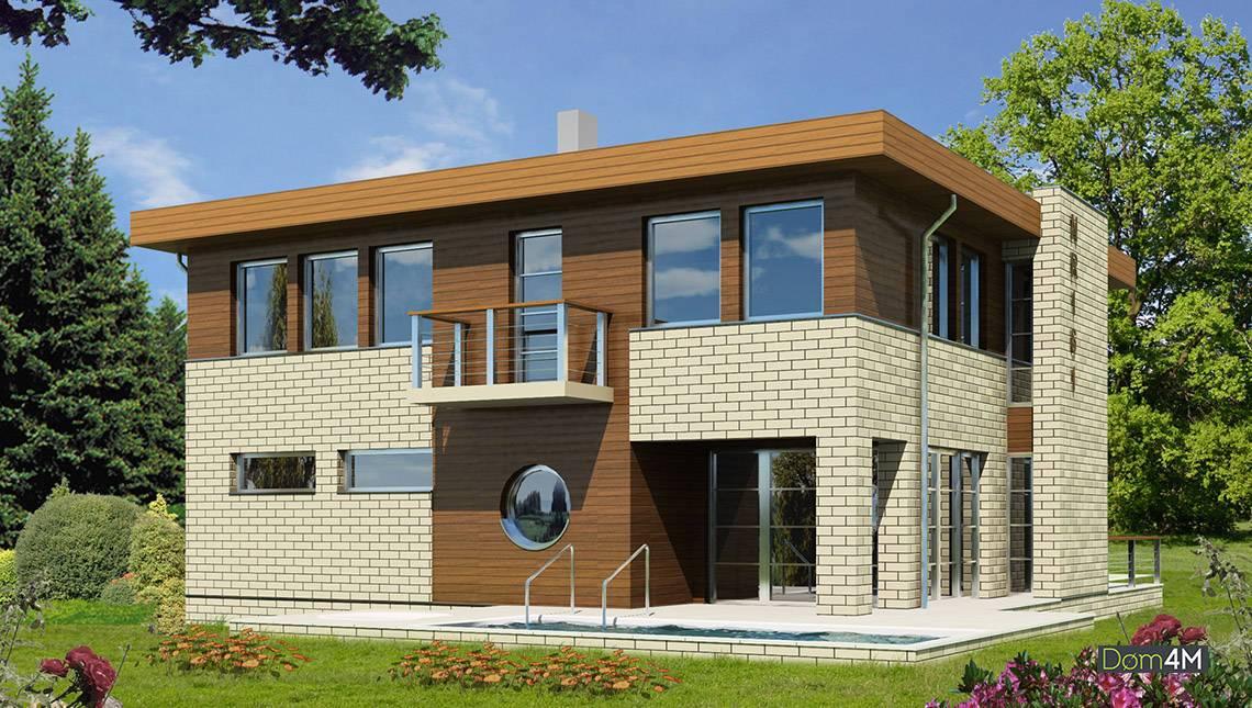 Шикарный дом, декорированный кирпичом и деревом