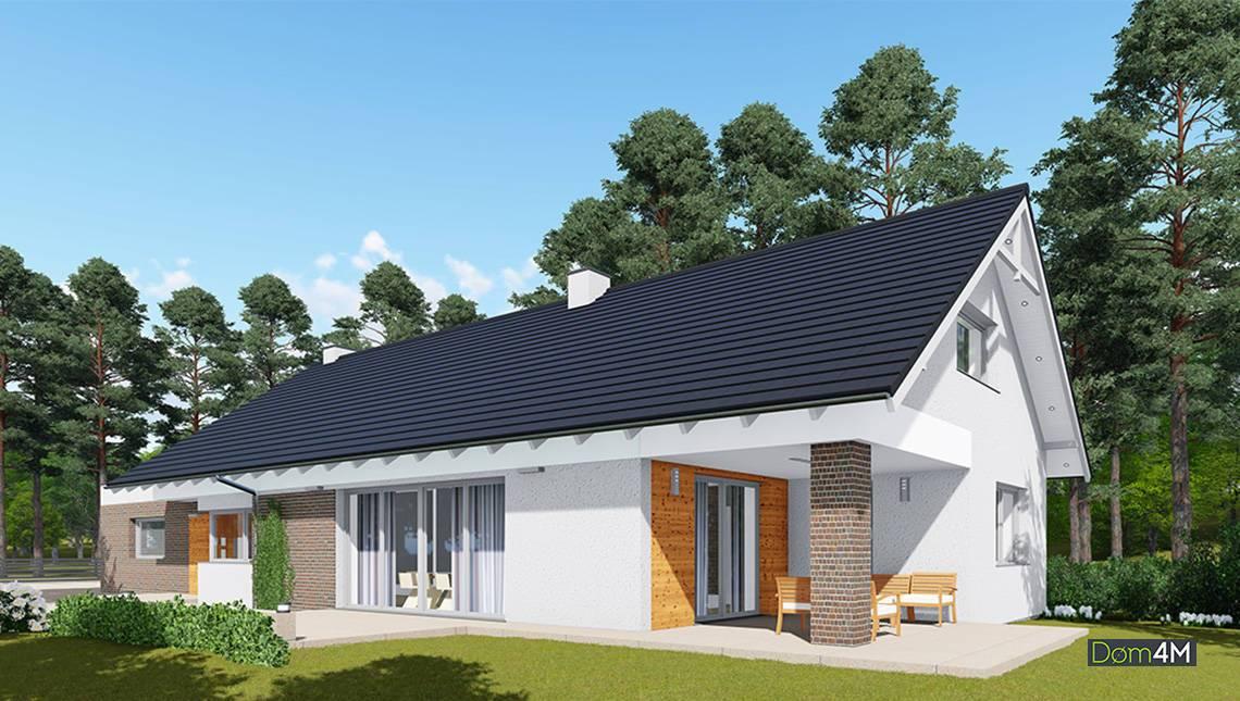 Одноэтажный жилой дом с чердаком и террасой