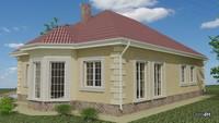 Одноэтажный дом с эркером и гаражом