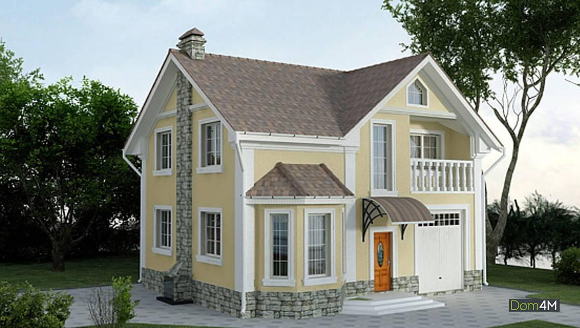 Шикарный дом на два этажа, декорированный камнем
