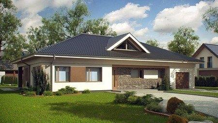 Проект одноэтажного коттеджа с 4 спальнями