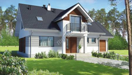 Проект серо-белого жилого дома с интересным экстерьером