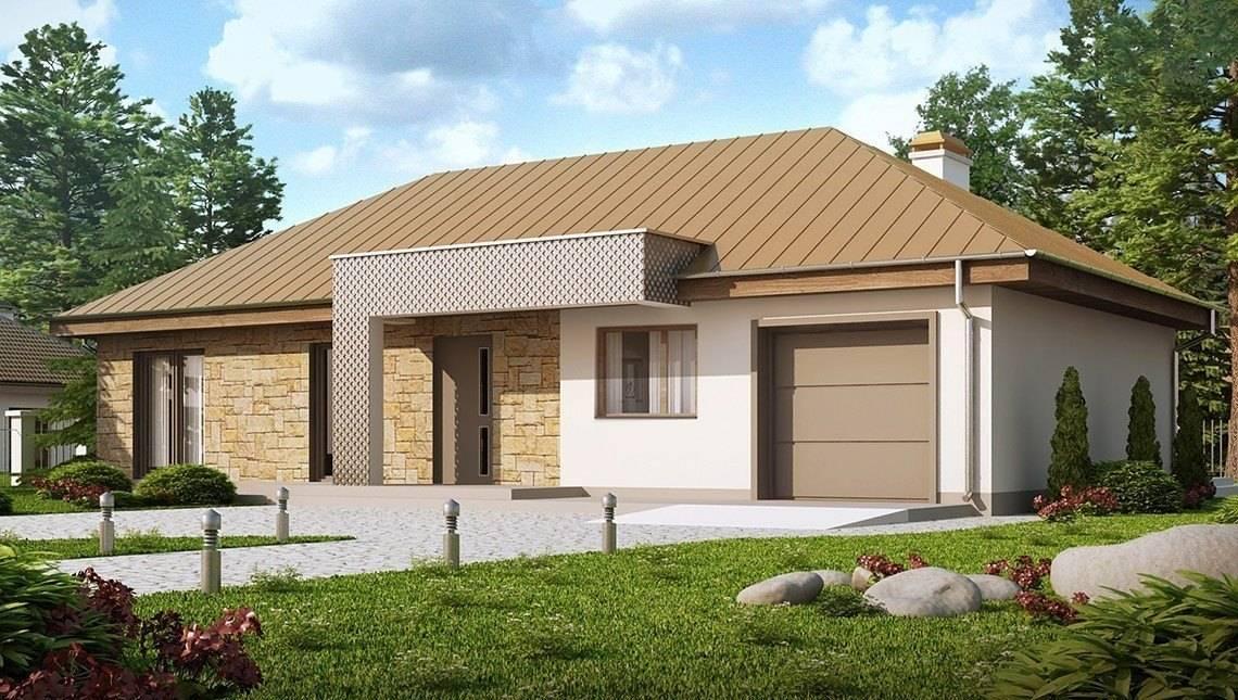 Проект одноэтажного коттеджа с гаражом, с приватной зоной