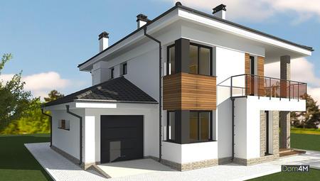 Схема стильного двухэтажного жилого дома с красивым балконом