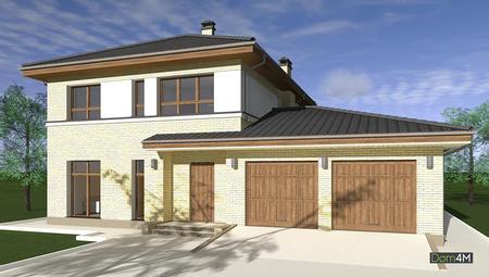 Схема двухэтажного дома с роскошным гаражом