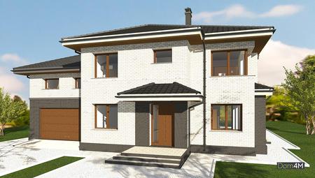 План двухэтажного дома с гаражом на 2 автомобиля