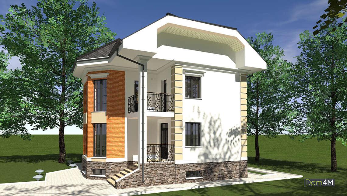 План красивого двухэтажного дома площадью 322 кв. м с цокольным этажом
