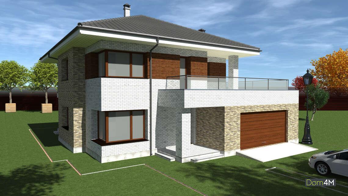 Проект двухэтажного кирпичного дома площадью 262 кв. м с современными балконами