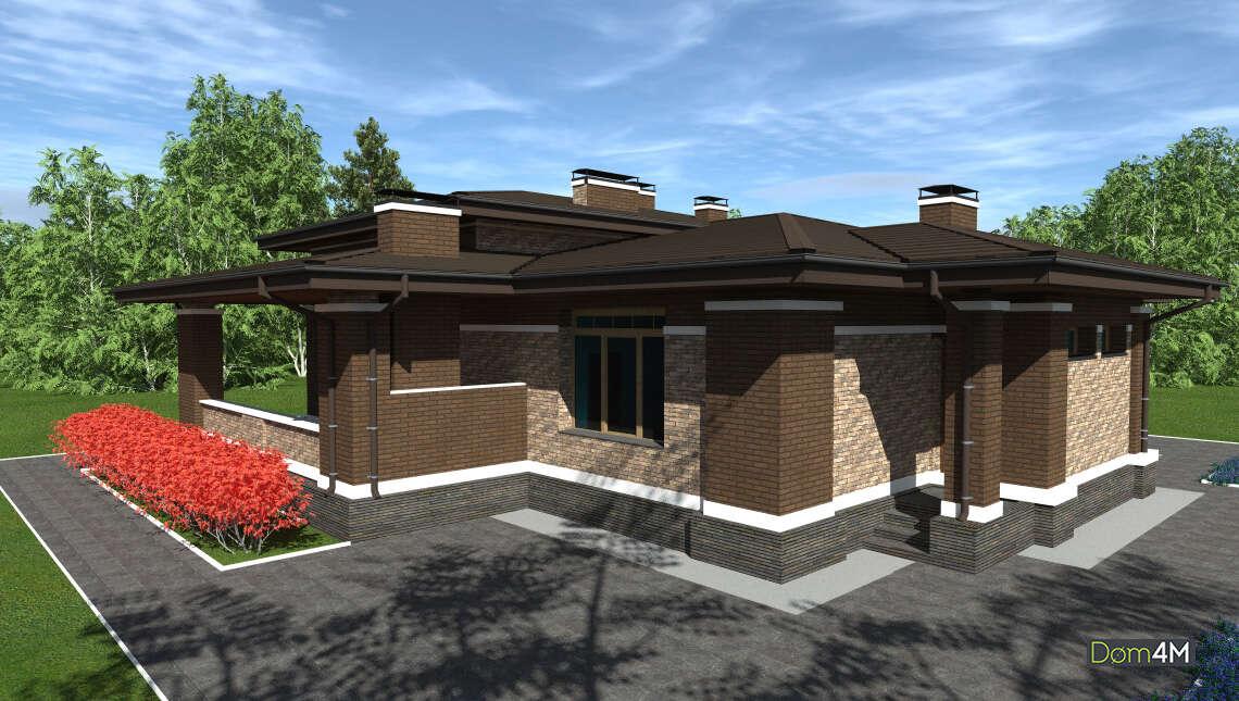 Проект компактного дома площадью 164 кв. м с тремя личными спальнями