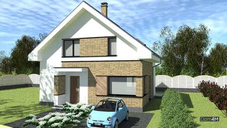 Симпатичный двухэтажный дом в строгом контрасте с кирпичным декором стен