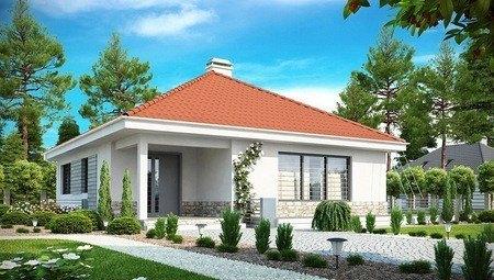 Проект семейного дома с фронтальной дневной зоной