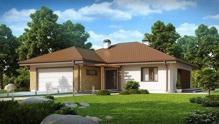 Проект одноэтажного коттеджа с гаражом для двух автомобилей и большим хозяйственным помещением