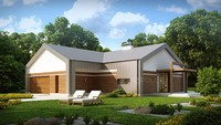 Проект современного необычного одноэтажного дома