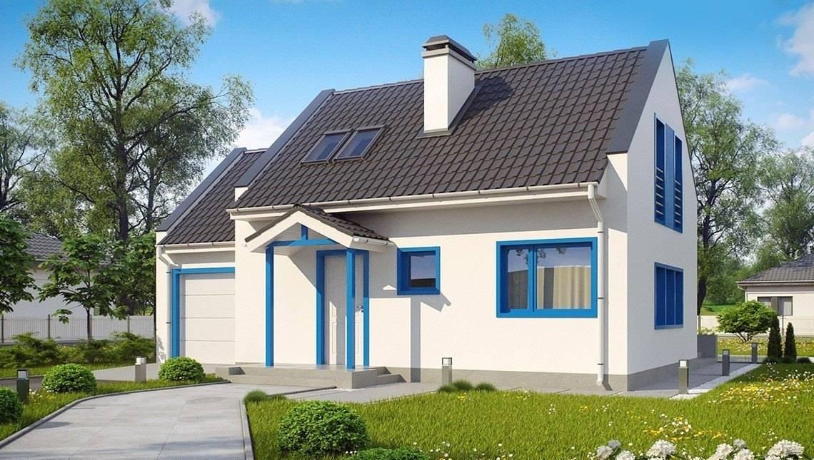 Проект небольшого светлого коттеджа с гаражом, стильными большими окнами