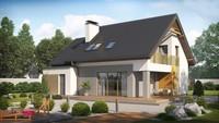 Проект современного стильного небольшого дома с мансардой, гаражом для 1 автомобиля