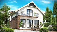Проект дома с мансардой и встроенным гаражом