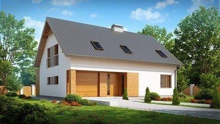 Проект дома с мансардой, большим техническим помещением и кабинетом