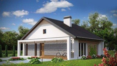Проект одноэтажного дома с дополнительной фронтальной террасой
