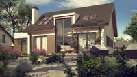 Проект одноэтажного дома с мансардой и большим фронтальным окном в гостиной