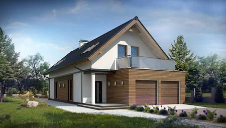 Проект дома для узкого участка с террасой над гаражом