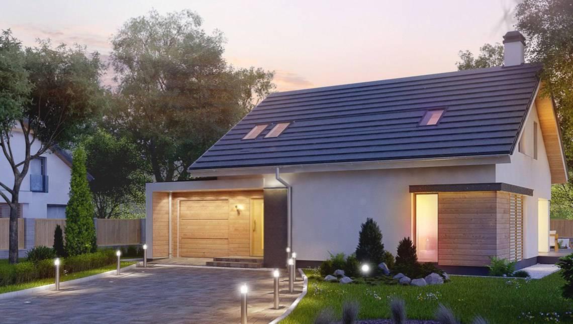 Проект дома с мансардой и гаражом с левой стороны