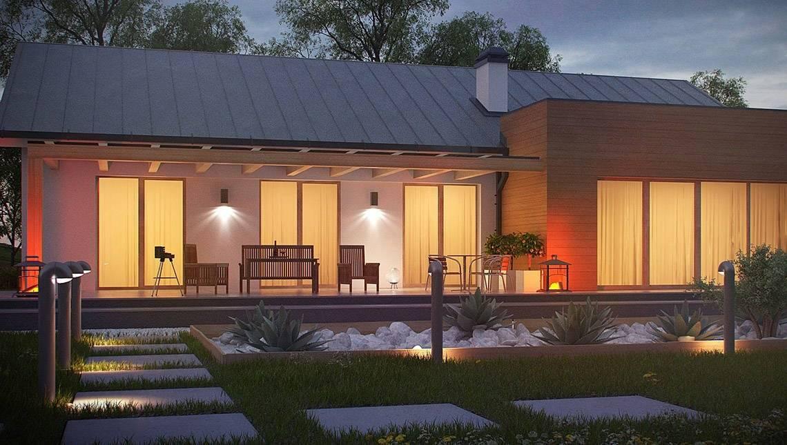 Проект одноэтажного дома простой формы с гаражом для двух авто