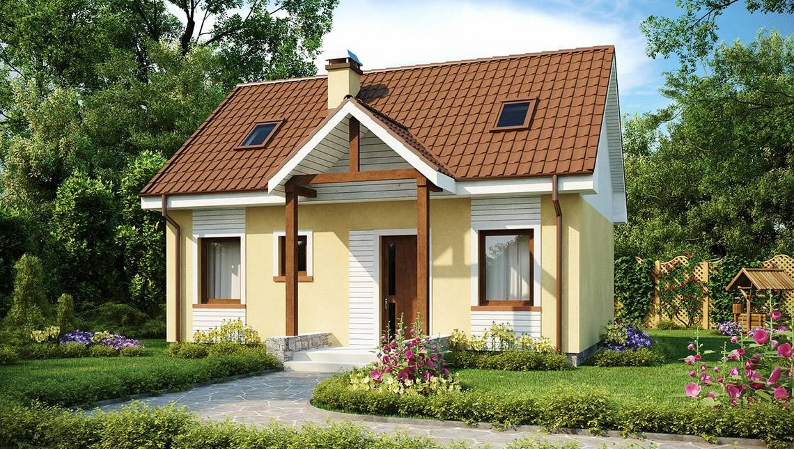 Проект классического дома с двускатной крышей