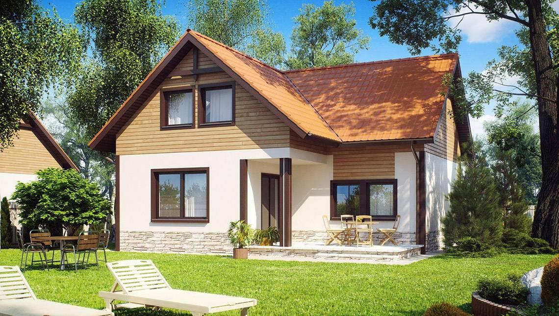 Проект дачного маленького дома с мансардой для небольшого участка