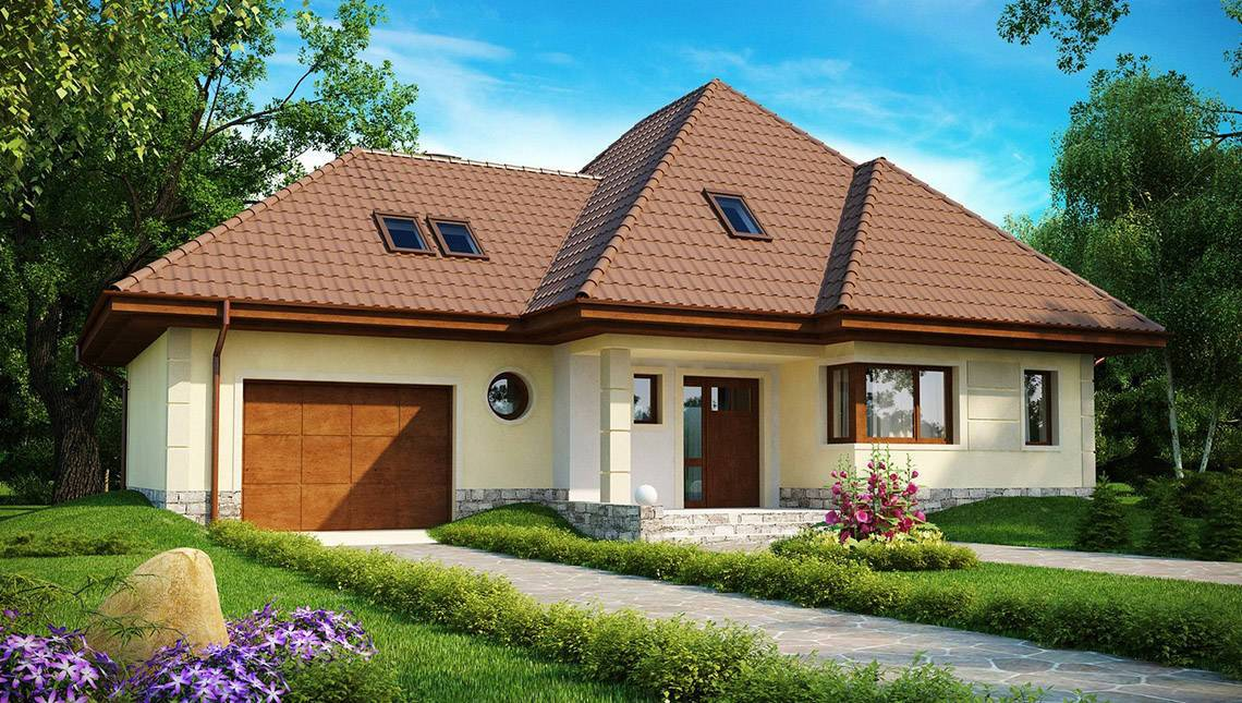 Проект просторного дома сложной формы