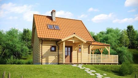 Проект небольшого дома с мансардой и боковой террасой
