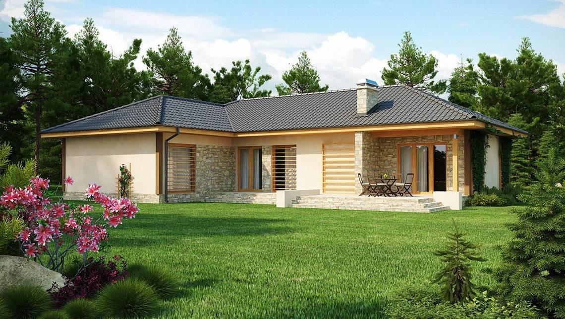Проект одноэтажного дома с гаражом для двух автомобилей и четырехскатной крышей