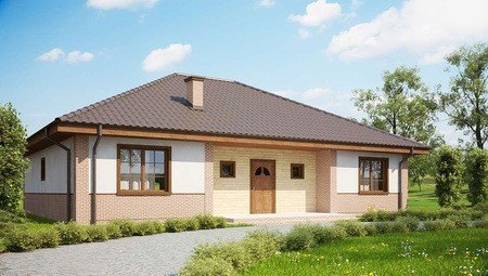 Проект одноэтажного дома с кирпичным фасадом