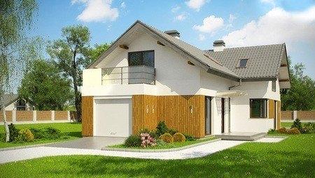 Проект мансардного дома с балконом над гаражом