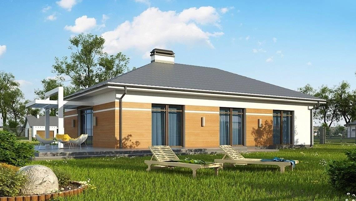Проект стильного одноэтажного дома с большим гаражом для 2 авто
