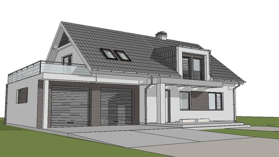 Проект светлого уютного коттеджа с мансардой и гаражом для 2х автомобилей