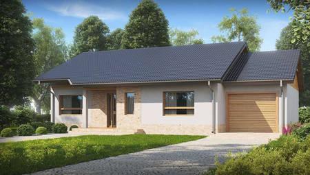 Проект одноэтажного классического дома с гаражом