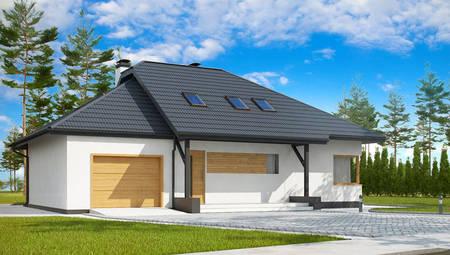 Проект дома с мансардой и гаражом