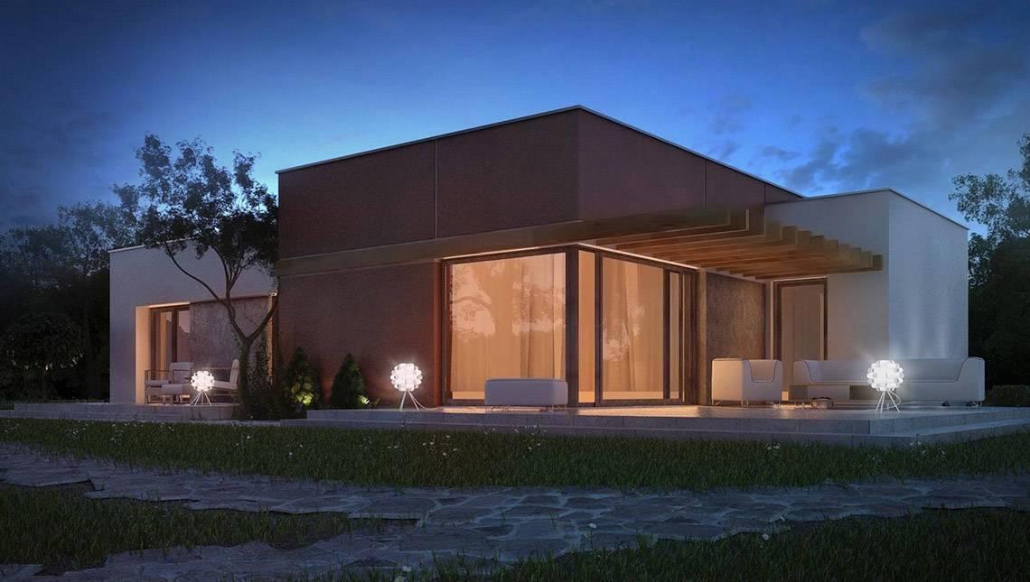 Проект одноэтажного дома в стиле хай -тек