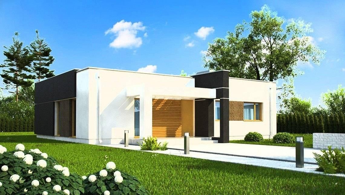 Проект современного одноэтажного коттеджа с плоской крышей