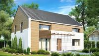 Проект двухэтажного коттеджа с двускатной крышей