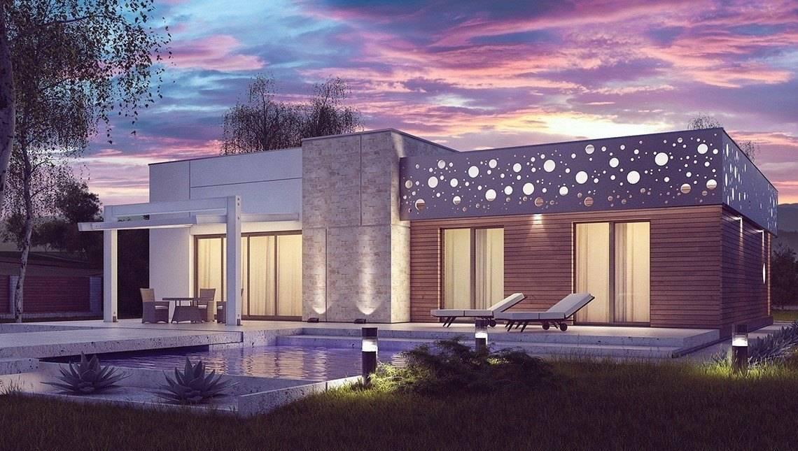 Проект одноэтажного коттеджа в современном стиле