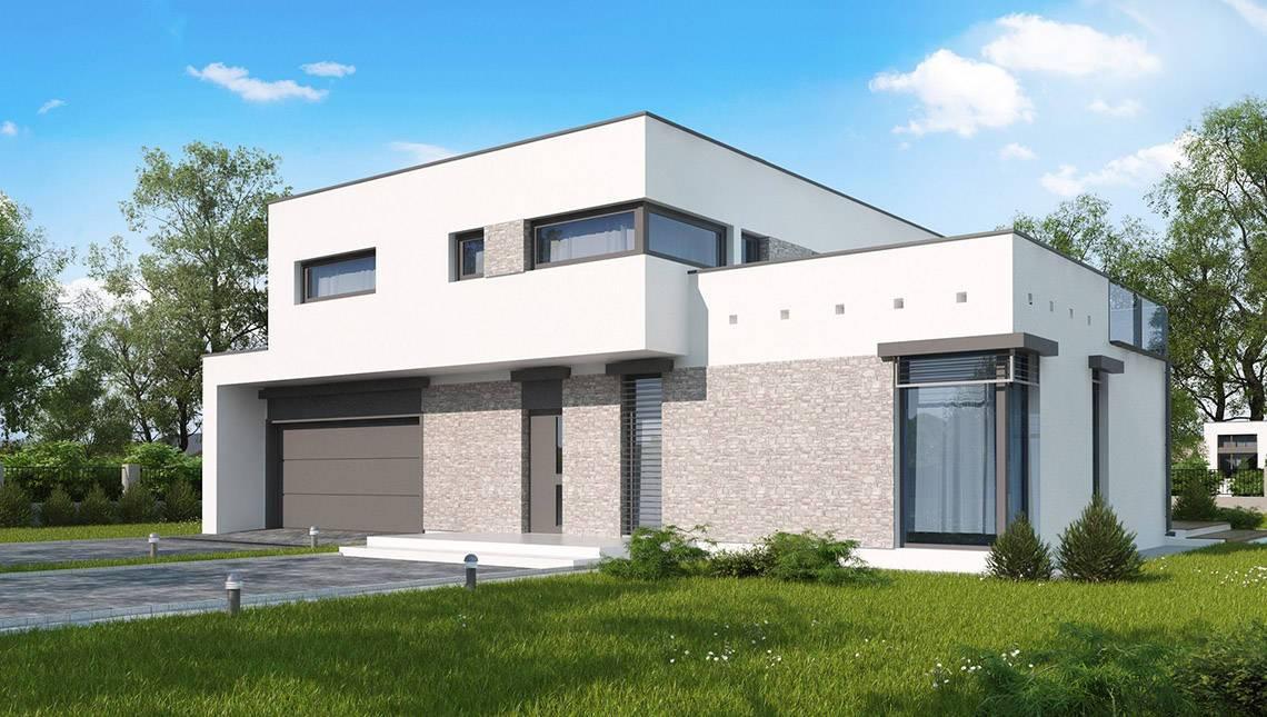 Проект дома в стиле модерн с гаражом для двух авто
