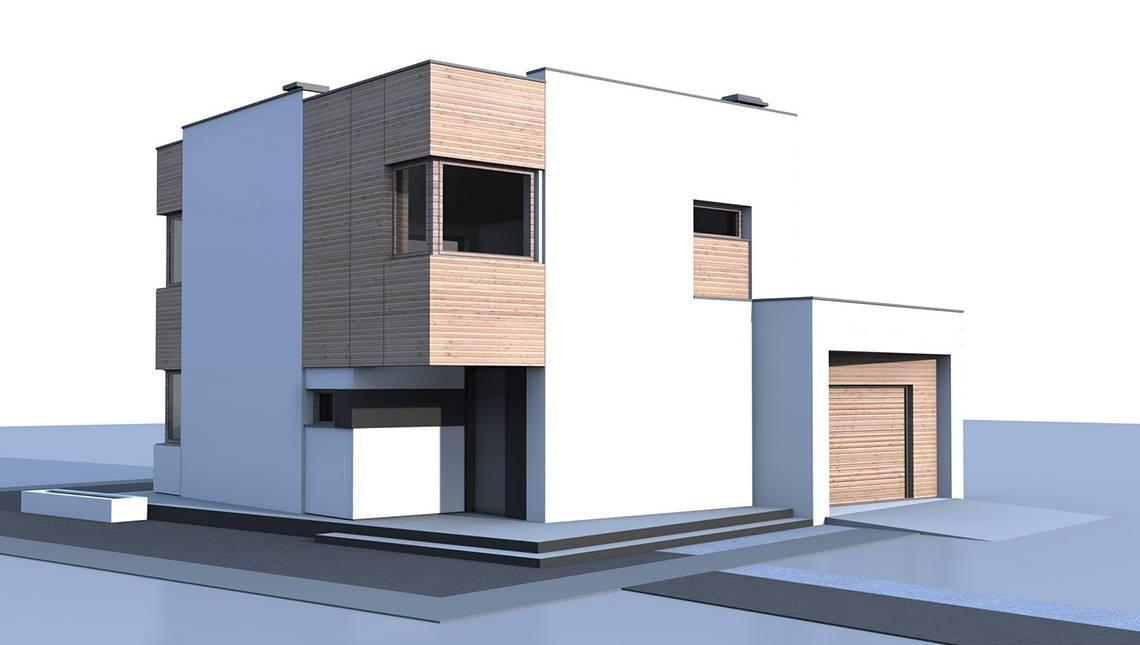 Проект современного небольшого коттеджа с гаражом
