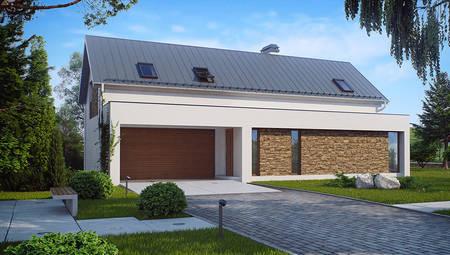Проект просторного дома с мансардой и гаражом