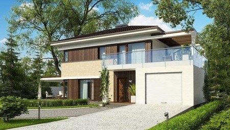 Проект двухэтажного коттеджа модерн с гаражом