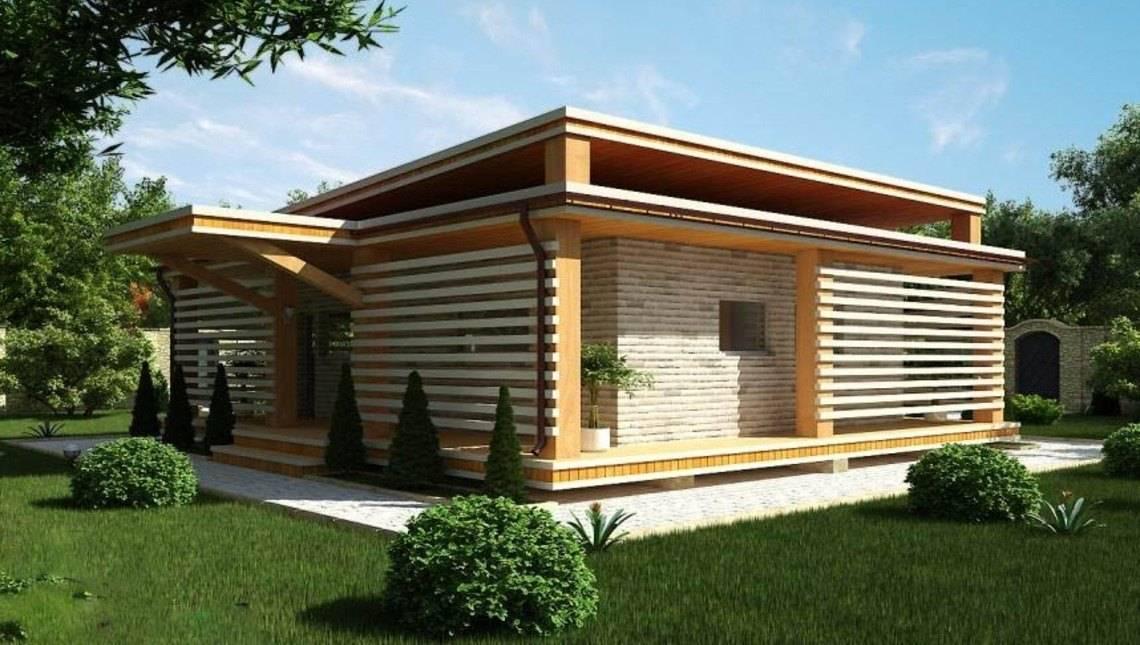 Проект современной загородной дачи с плоской крышей